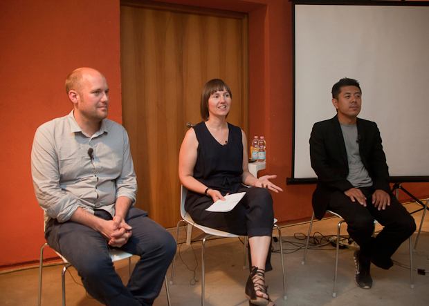 OMA's Stephan Petermann, The British Council's Vicky Richardson and MAD Architects' Ma Yansong