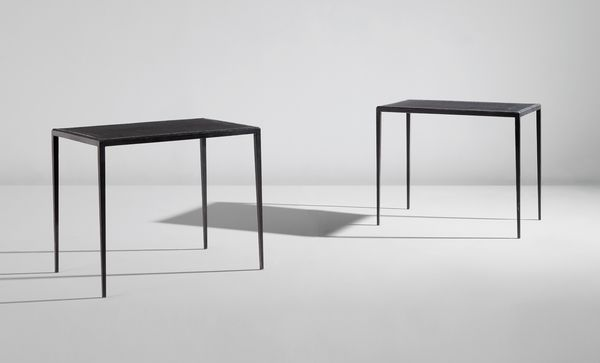 Jean-Michel Frank Pair of side tables, circa 1938 Painted iron, leather, estimate $20,000 - 30,000
