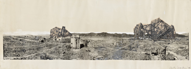 A photomural of Arata Isozaki's Reruined Hiroshima project. Image courtesy of RIBA