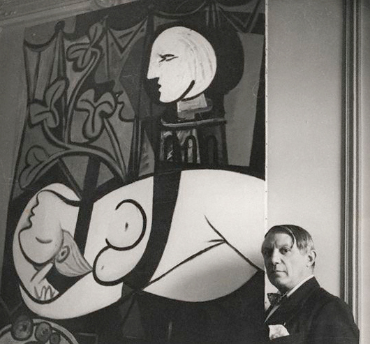 Pablo Picasso with Nude, Green Leaves and Bust in 1932 at 23 rue la Boétie, Paris. Photograph by Cecil Beaton