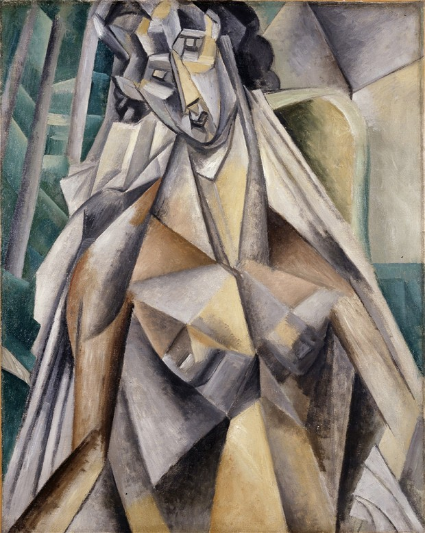 Nude in an Armchair (1909) by Pablo Picasso. From The Met's Cubism exhibition. The Metropolitan Museum of Art, New York, Promised Gift from the Leonard A. Lauder Cubist Collection © 2014 Estate of Pablo Picasso / Artists Rights Society (ARS), New York