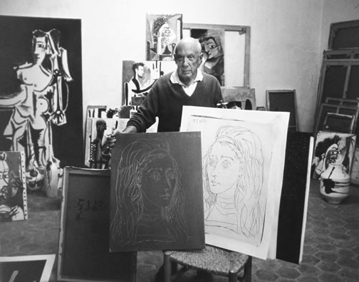 Picasso in his studio in 1957