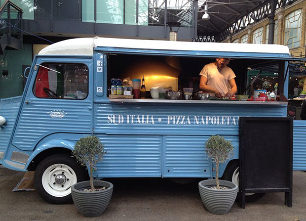 Silvestro Morlando bakes Neapolitan pizza in a wood-fired oven fitted into a vintage blue Citroën Type H