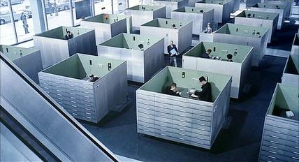 A still from Playtime (1967) by Jacques Tati