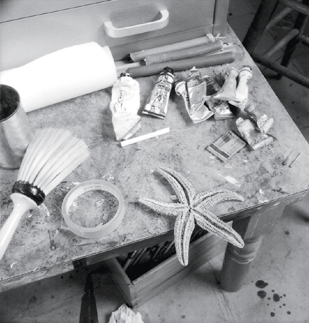 Pollock's studio table at the time of his death