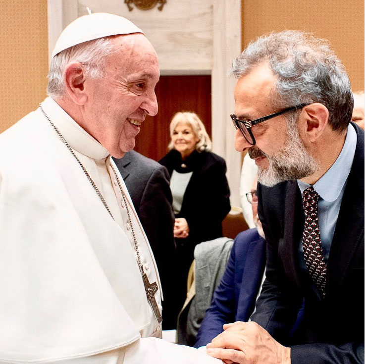 Pope Francis and Massimo Bottura. Image courtesy of Massimo Bottura's Instagram