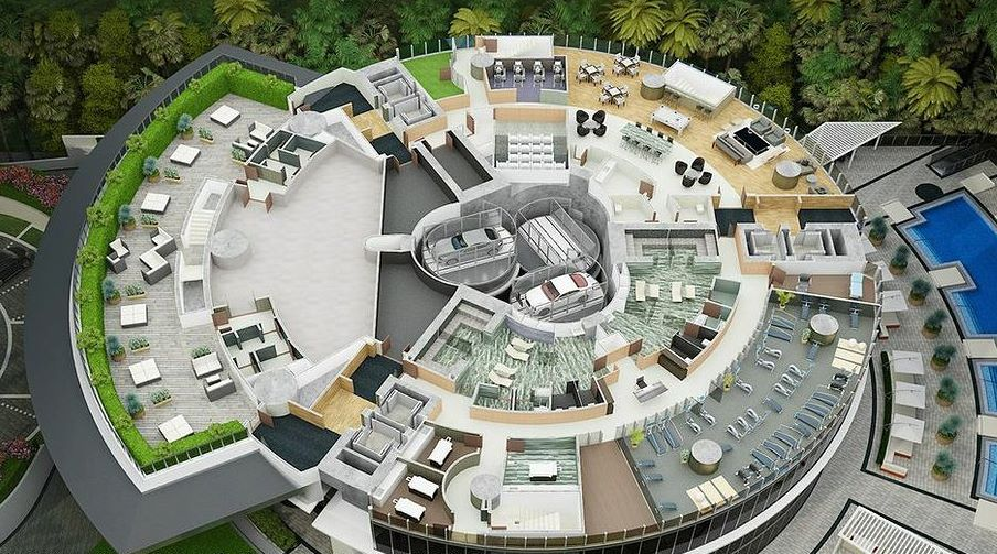 The roof garden on top of the Porsche Design Tower, Florida
