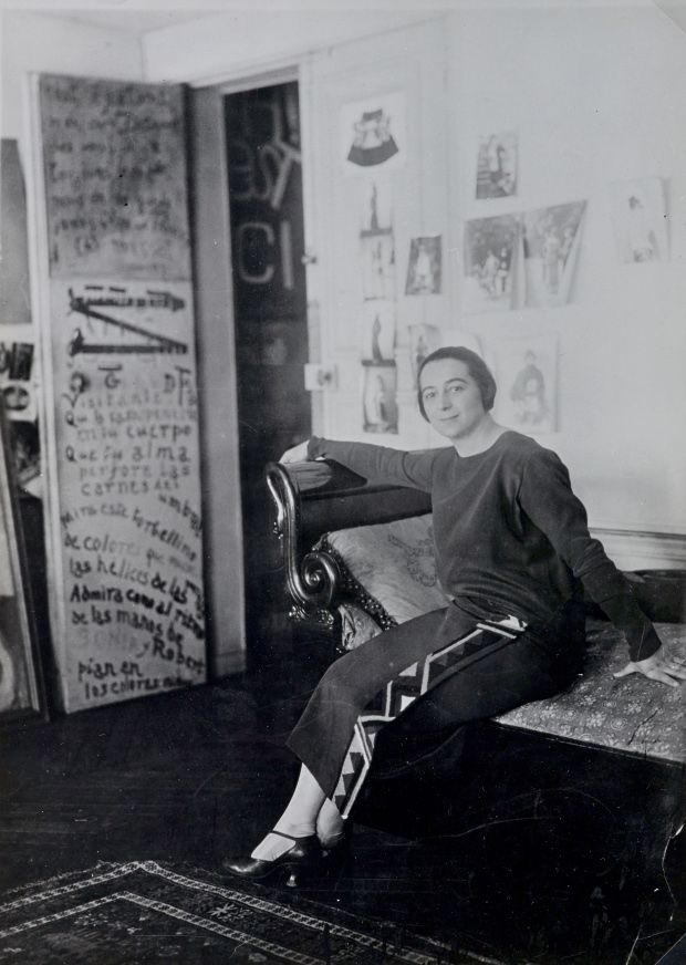 Sonia Delaunay in front of her door-poem in the Delaunays' apartment, Boulevard Malesherbes, Paris 1924 Bibliothèque nationale de France, Paris