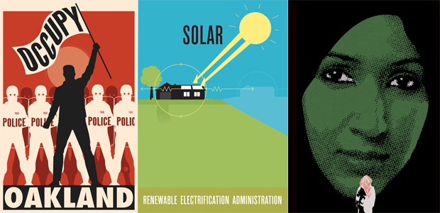 Occupy Oakland by R. Black (2011); Renewable Electrification Series - Solar by Eric Benson (2008); Saudi Women to Drive by Mohammad Sharaf (2011) all from Graphic Advocacy