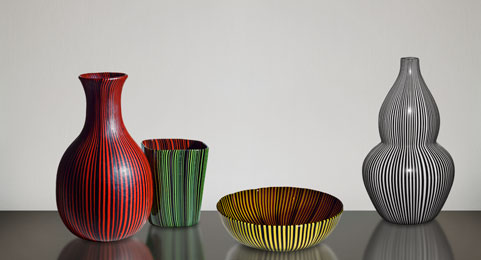 Rigati e tessuti glass pieces designed by Carlo Scarpa for Venini, ca. 1938–1940. Private collection; Private collection; Chiara and Francesco Carraro Collection, Venice; European Collection