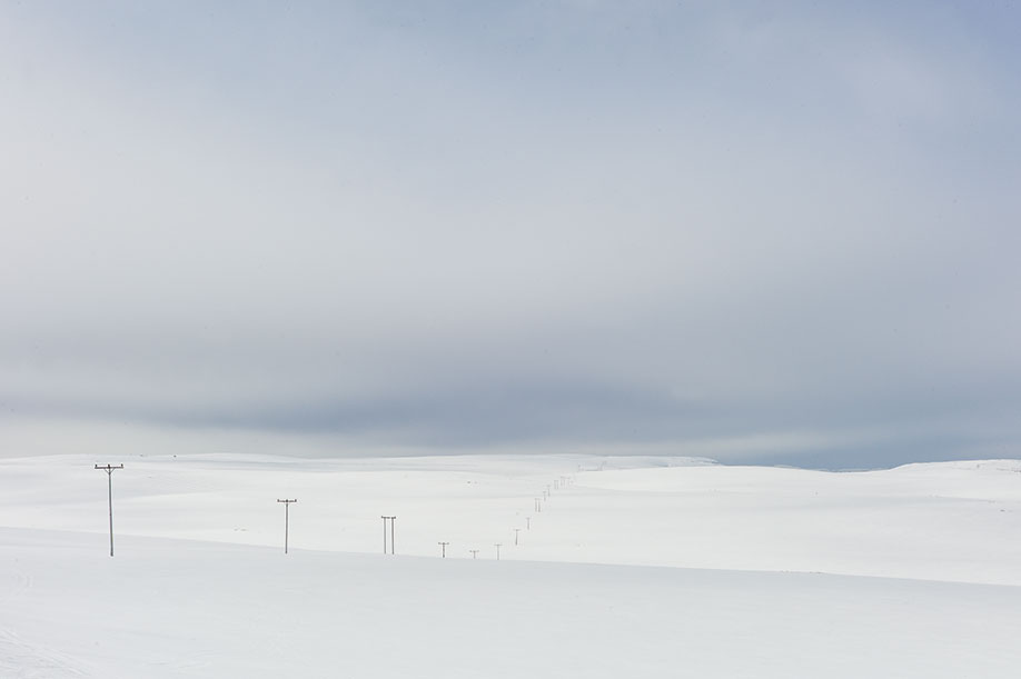 Power lines in snow, close to North Cape, Norway, Spring 2014. From Nordic: A Photographic Essay of Landscapes, Food and People