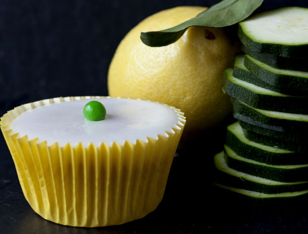 Lemon and Courgette Cupcake, Petit Pois Cakes