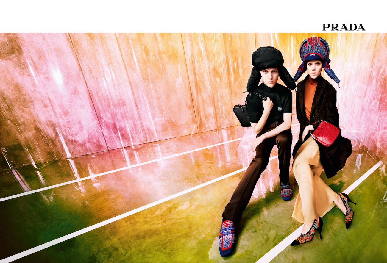 Prada's new resort campaign featuring Verner Panton's Inflatable Stool. Photograph by Willy Vanderperre