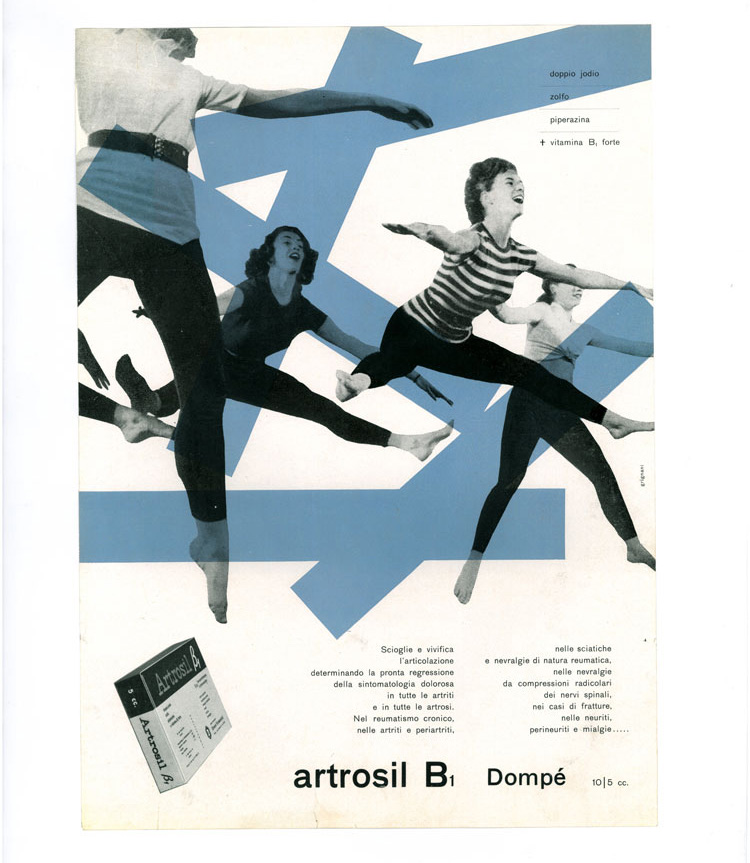 Franco Grignani, advertisment for Dompe? Farmaceutici's 'Artrosil B1' medicine, 1950. Image courtesy of the Estorick Collection and Archivo Manuela Grignani Sitroli