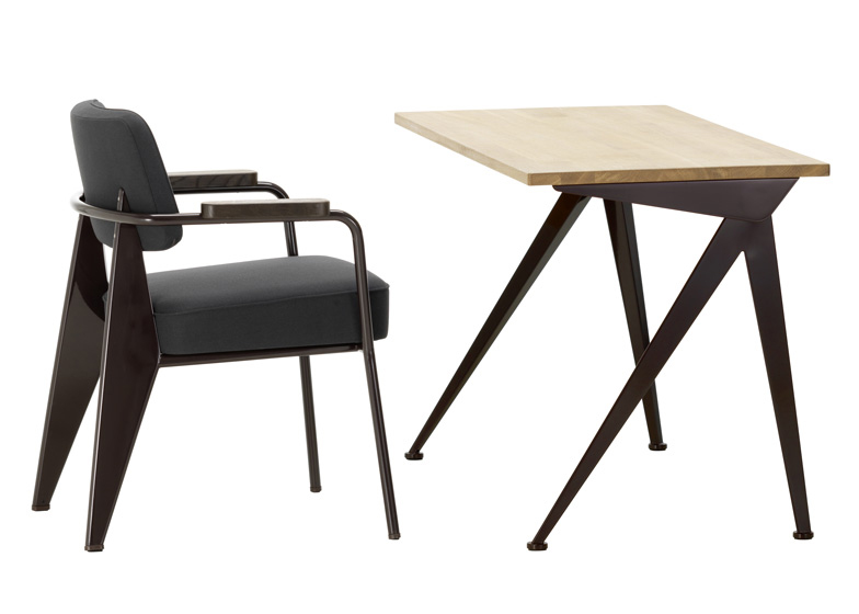 Jean Prouvé's Fauteuil Direction chair and Compas Direction table, reworked by Hella Jongerius