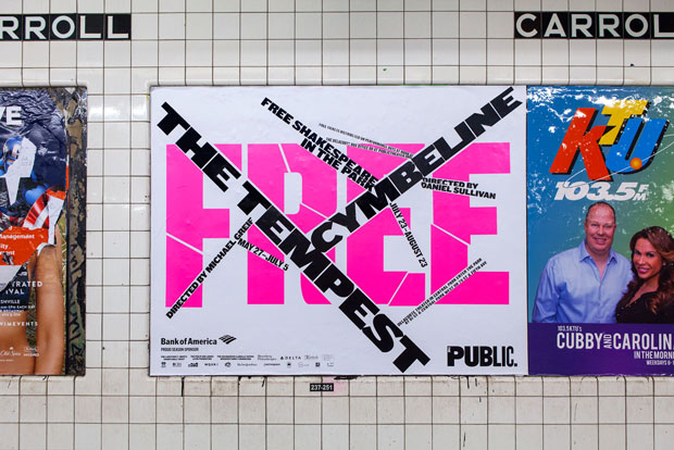 Shakespeare in the Park 2015 poster in the New York subway. Photo by Claudia Mandlik. Image courtesy of Pentagram