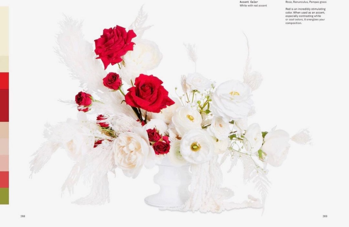 A red and white accented spread from Flower Color Theory