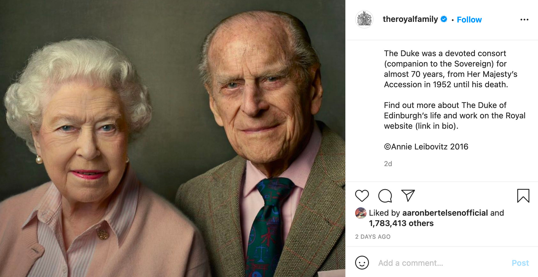 The Royal Family marks Prince Philip's passing with an Annie Leibovitz portrait