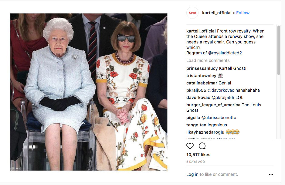 The Queen and Louis Ghost Chair at London Fashion Week