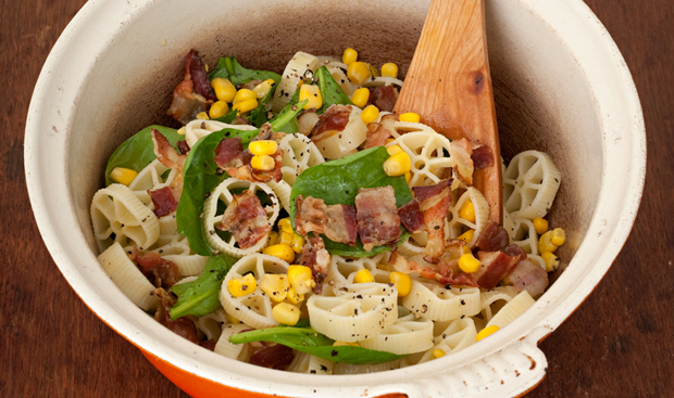 Pasta with corn, pancetta and baby spinach, a recipe from Vegetables from an Italian Garden