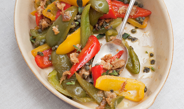Bell peppers with breadcrumbs and capers, a recipe from Vegetables from an Italian Garden