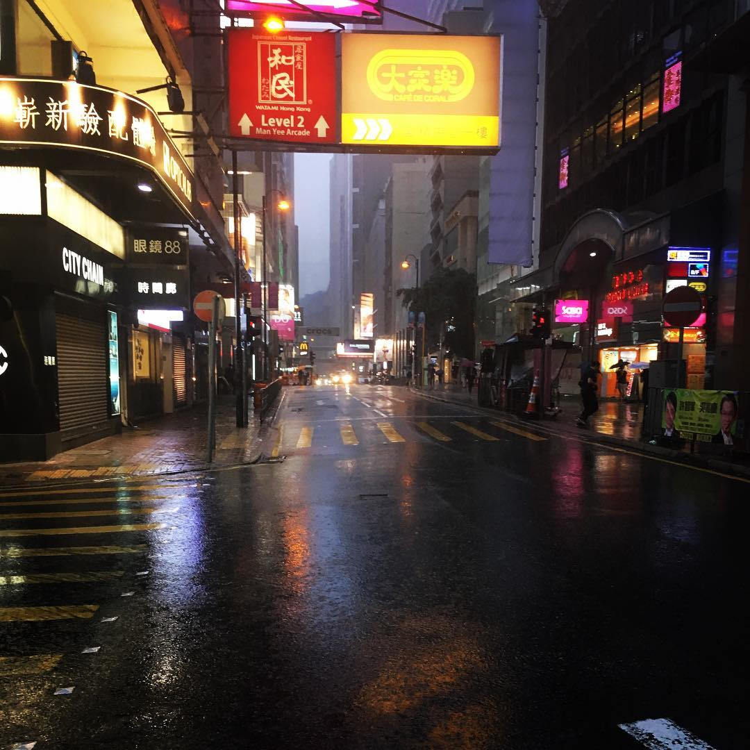 Dan's shot of a rainy Hong Kong street. Image courtesy of Dan Hunter's Instagram