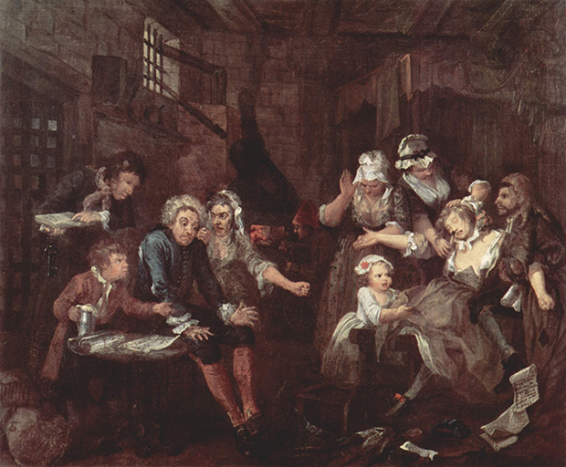 A Rake's Progress: 7 The Prison (1733), by William Hogarth