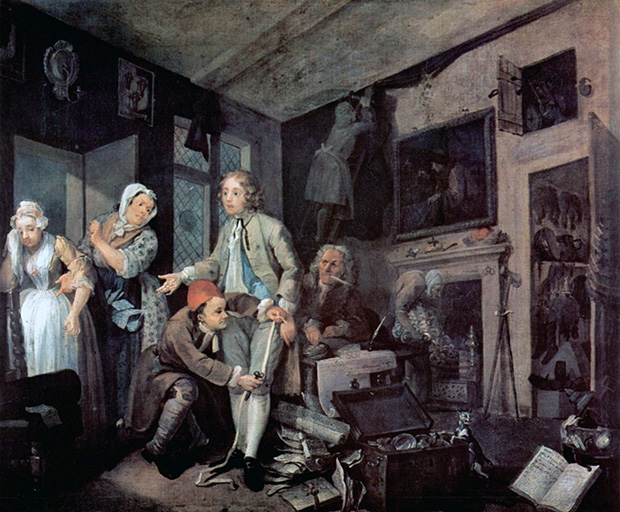 A Rake's Progress: 1 The Heir (1733) by William Hogarth