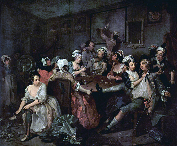 A Rake's Progress: 3 The Orgy (1733) by William Hogarth