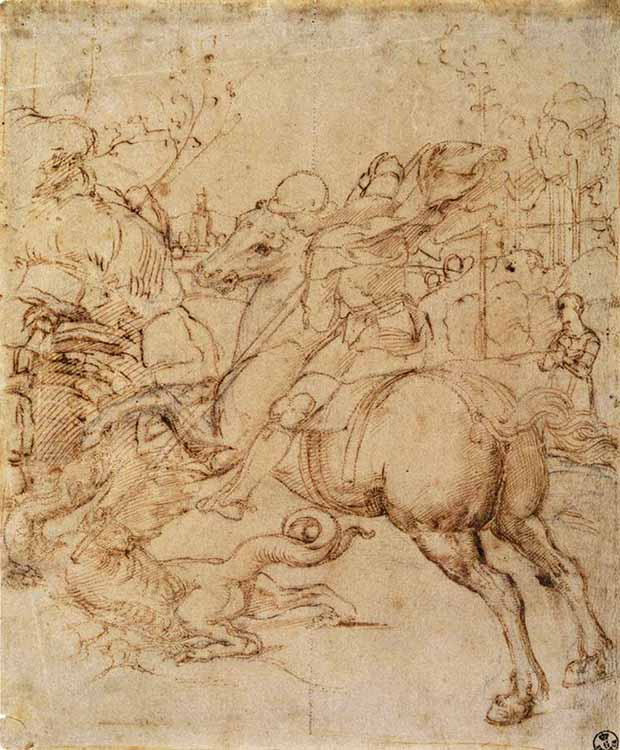 Cartoon of Saint George (c. 1506) by Raphael