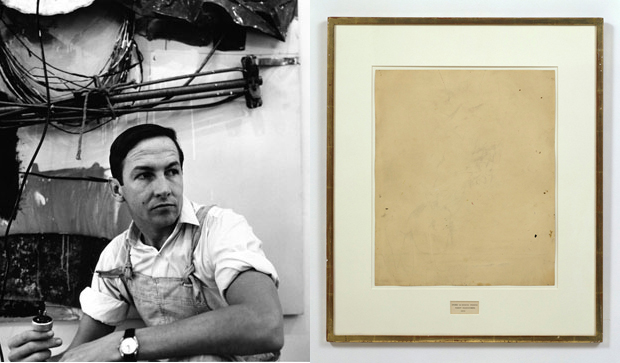 Rauschenberg photographed by Steve Paxton and Erased de Kooning Drawing, 1953 (San Francisco Museum of Modern Art)