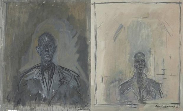 From left: Diego (1959) by Alberto Giacometti; John Myatt, in the style of Giacometti, Portrait of Samuel Beckett, dated 1961