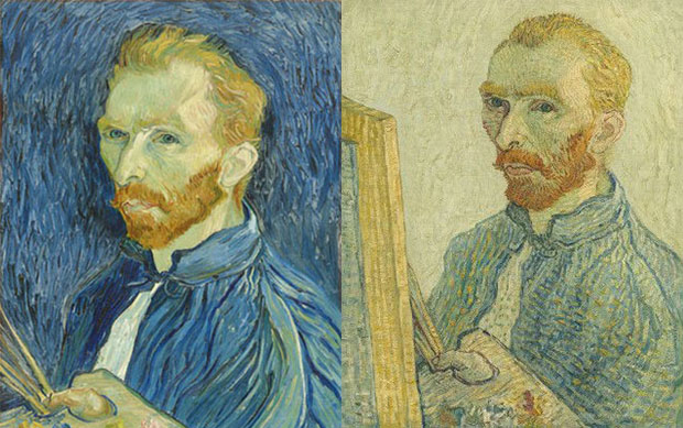 Left: Vincent van Gogh's Self-portrait (1889). Right: a forged version of the painting, shown, via forensic testing, to have been created in the early 20th century