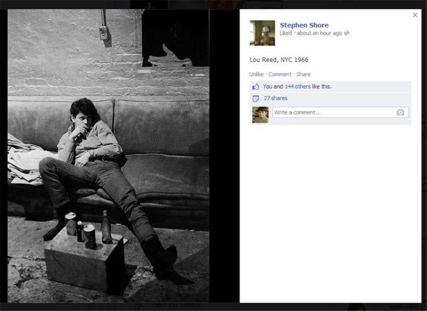 Stephen Shore's Facebook shares, earlier today