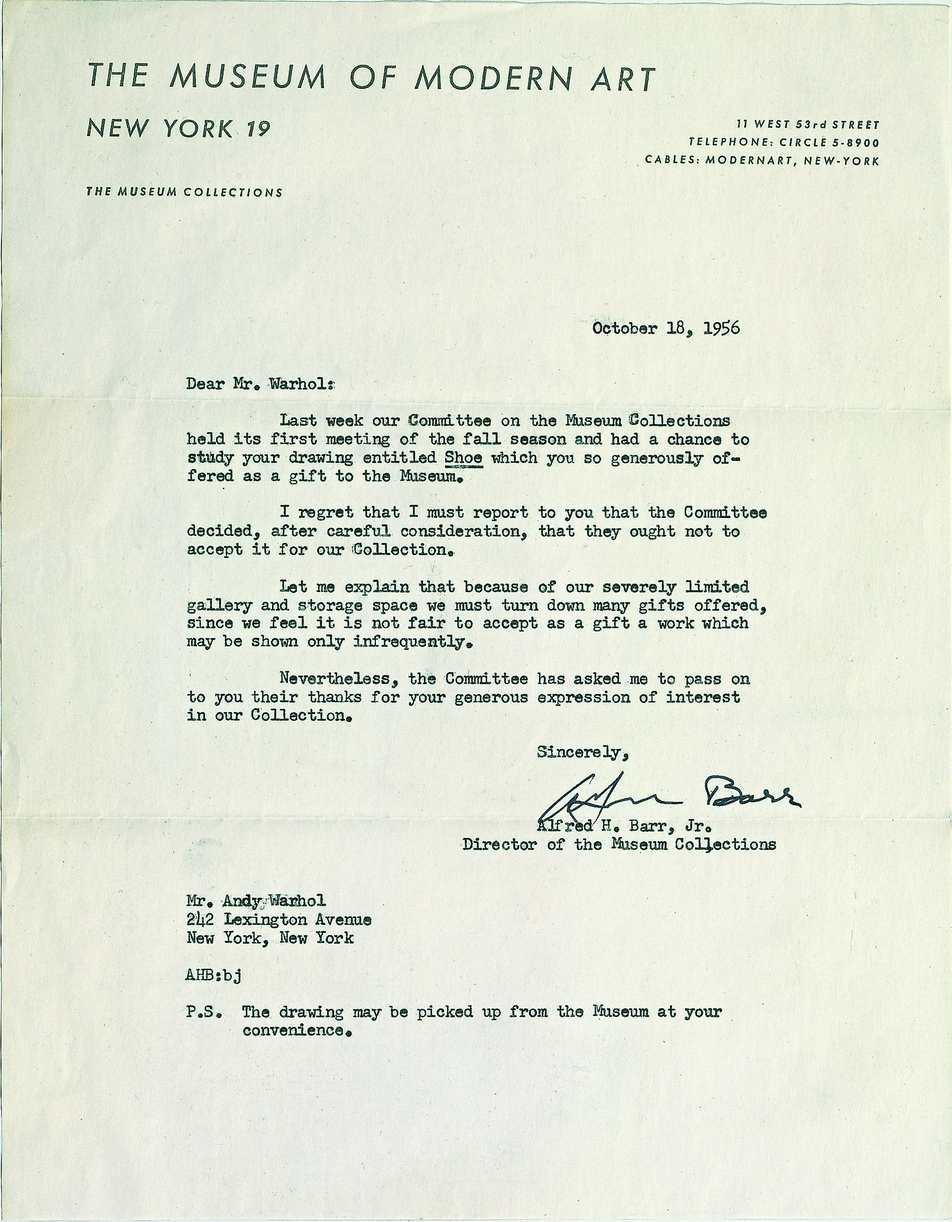 Warhol's MoMA rejection letter, as reproduced in Andy Warhol Giant Size