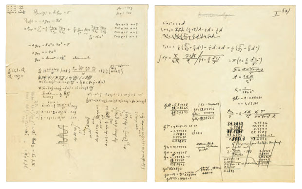 Albert Einstein (1879–1955) and Michele Besso (1873–1955), Einstein–Besso Manuscript, 1913, 54 (of 56) pages, quarto, ink and pencil on 37 sheets of foolscap and squared paper of various types, mostly 27.5 x 21 cm (10½ x 8½ in) Sale 25 November 1996, New York Estimate $250,000–350,000/ £150,000–210,000 Sold $398,500/£238,700 Equivalent today $580,900/£400,000