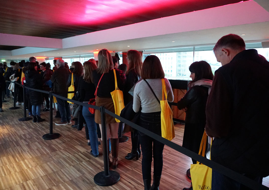 The queue at The Royal Festival Hall post talk book signing - Photo Bonnie Beadle