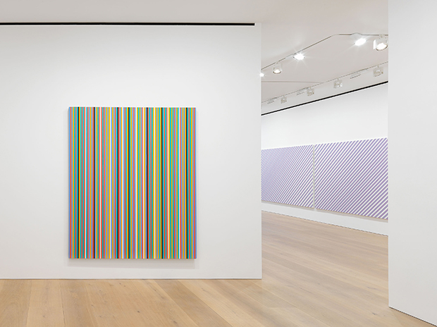 Installation view of Bridget Riley The Stripe Paintings 1961-2014, at David Zwirner, London