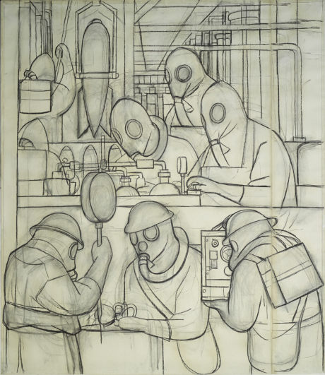 Manufacture of Poisonous Gas Bombs (Detroit Industry north wall), (1932), by Diego Rivera
