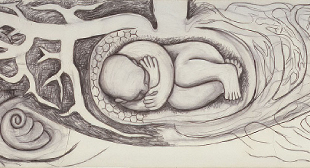 Detail from Infant in the Bulb of a Plant (Detroit Industry east wall), 1932, by Diego Rivera