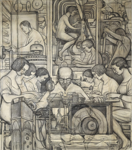 Pharmaceutics (Detroit Industry south wall), (1932) by Diego Rivera