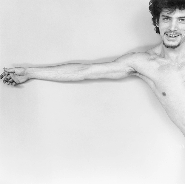 Self portrait, 1975 by Robert Mapplethorpe. As reproduced in Body of Art
