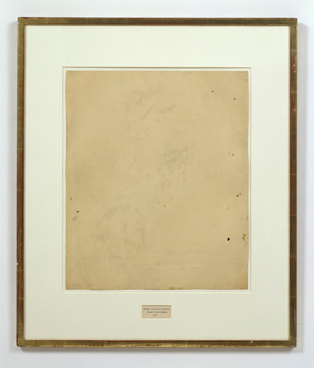 Robert Rauschenberg and Willem de Kooning, Erased de Kooning, 1953, traces of drawing media on paper with label and gilded frame, 64.14 × 55.25 cm (251/4 × 213/4 in), San Francisco Museum of Modern Art