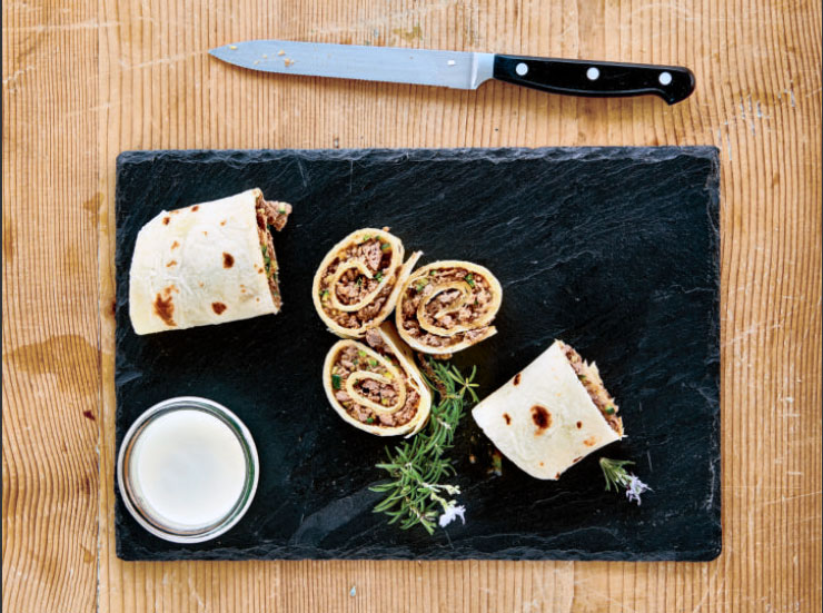 Piadina Wraps with Beef and Parmigiano Bechamel, as reproduced in Bread is Gold