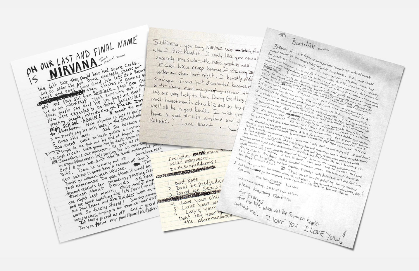 The words of Kurt Cobain including his suicide note, right