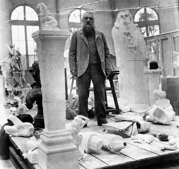 Rodin in His Studio in Meduon, 1902. As reproduced in our Rodin monograph