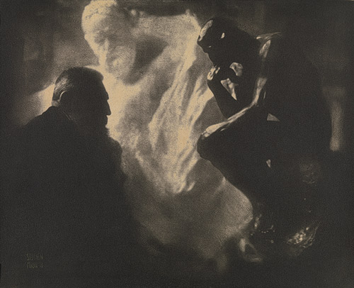 Edward Steichen, Portrait of Rodin with The Thinker and theMonument to Victor Hugo, 1902. From our Rodin monograph