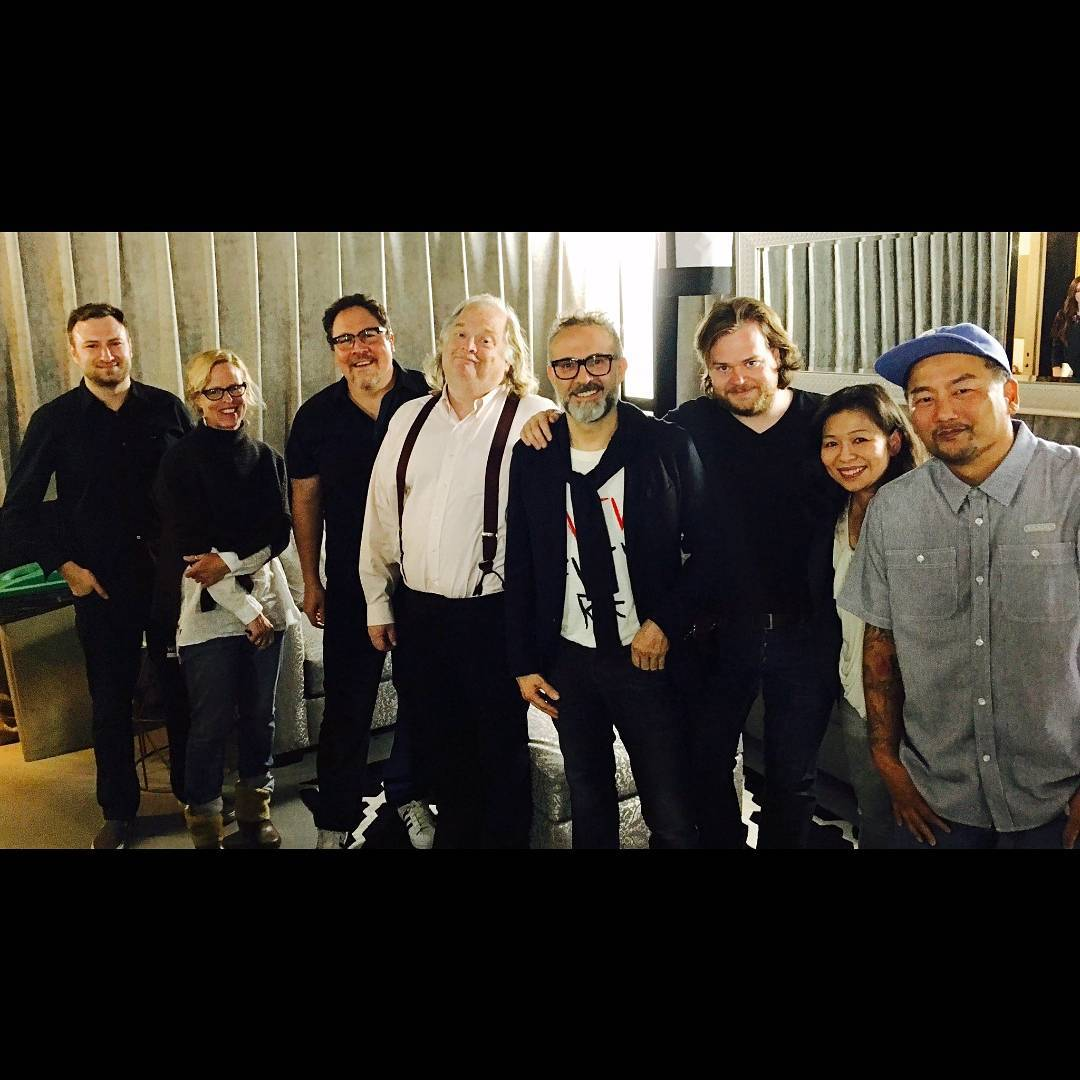 David Gelb, Jon Favreau, Jonathan Gold, Massimo Bottura, Magnus Nilsson and Roy Choi in Los Angeles. Image courtesy of Roy Choi's Instagram