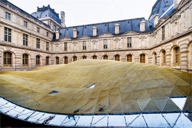 The undulating glass roof covers Louvre's new Islamic Art exhibition space