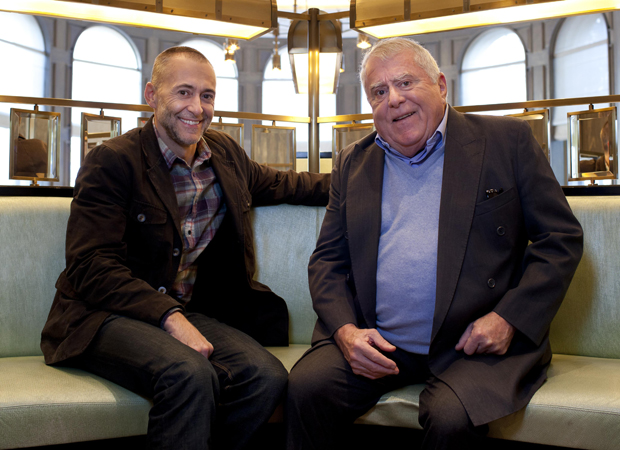 Two-star Michelin chef Michel Roux Jr with his restaurateur chef father Albert Roux OBE, at The Landau